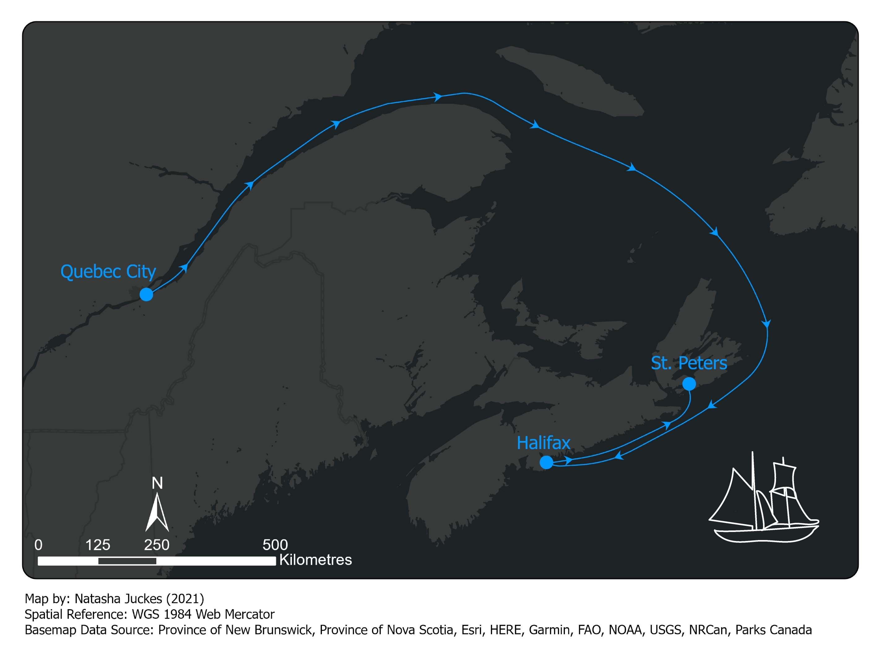 A map of the sailing route from Quebec City to Halifax and then to the St. Peters Canal that Natasha Juckes completed as one of her adventurous journeys for the Duke of Edinburgh's Award.