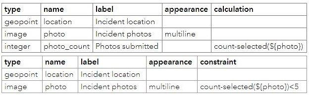 Exemple d'un formulaire Survey123 dans une feuille de calcul Excel montrant comment calculer le nombre de photos soumises et appliquer une contrainte pour limiter à moins de cinq le nombre de photos pouvant être jointes.