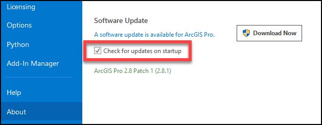Options de configuration d'ArcGIS Pro indiquant comment vérifier les mises à jour logicielles au démarrage de l'application.