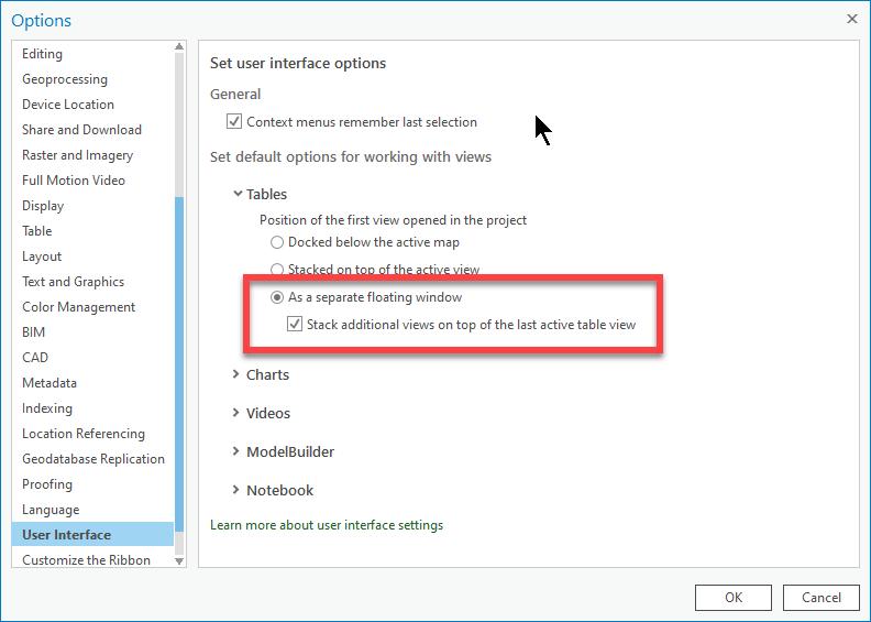 Options de l'interface utilisateur d'ArcGIS Pro montrant comment les tables peuvent être configurées pour s'ouvrir dans une fenêtre flottante séparée.