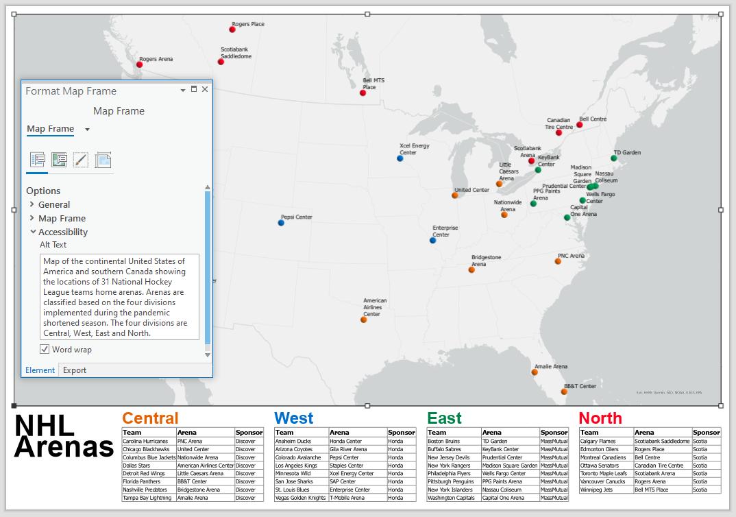 Mise en page ArcGIS Pro montrant les emplacements des arénas de la LNH au Canada et aux États-Unis, ainsi que les propriétés d'accessibilité de la fenêtre cartographique.