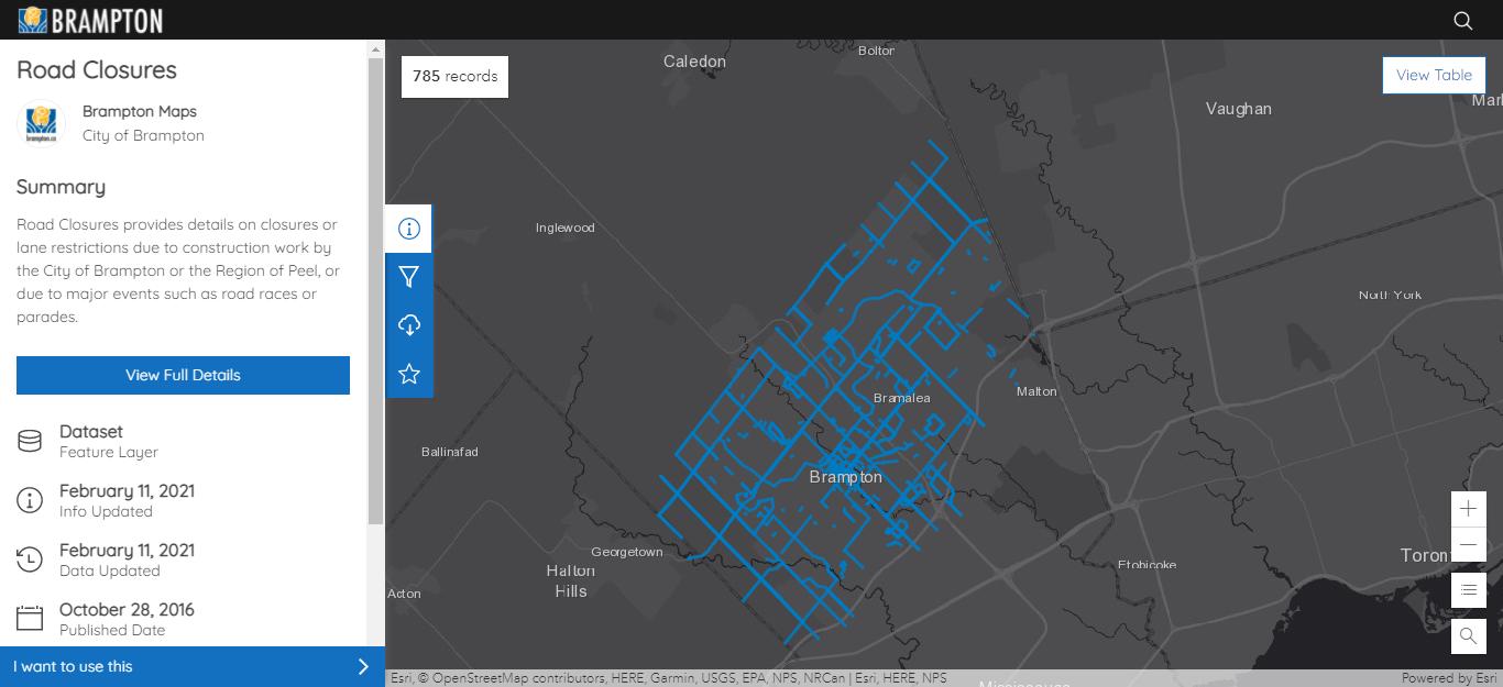 L'image est une capture d'écran des données sur les fermetures de routes conservées dans le GeoHub de la Ville de Brampton.