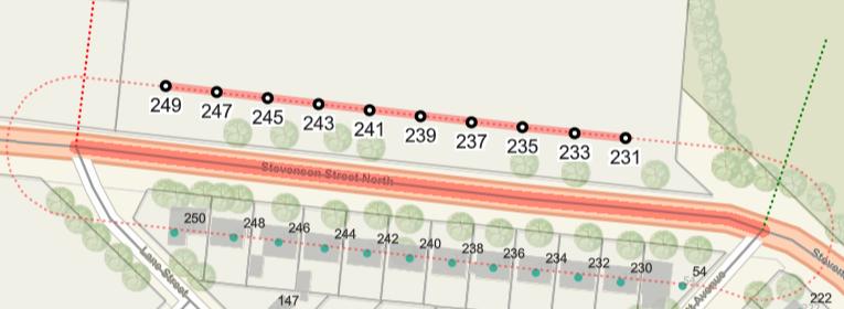 Capture d'écran de la rue Stevenson Nord (Stevenson Street North) mettant en évidence les adresses 231 à 249