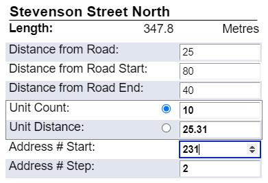 Capture d'écran du positionnement et de la numérotation des points d'adresse