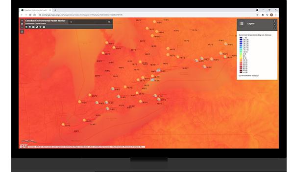 Carte web d'Environnement et Changement climatique Canada montrant les températures dans le sud de l'Ontario.