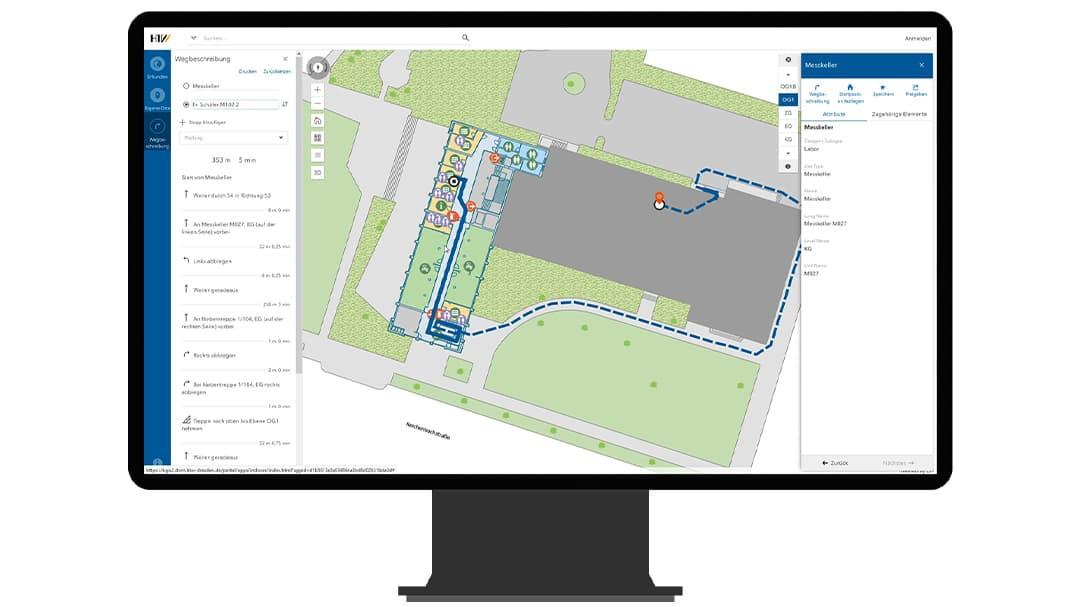 La version de bureau de l'application web de Roch montre un itinéraire extérieur menant d'un sous-sol à un bureau. L'application utilise les données du fond de carte du site.