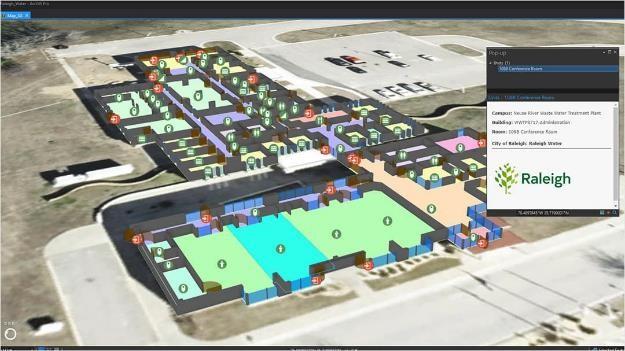 Bâtiments de l'administration et des laboratoires de Raleigh Water dans le modèle d'information ArcGIS Indoors