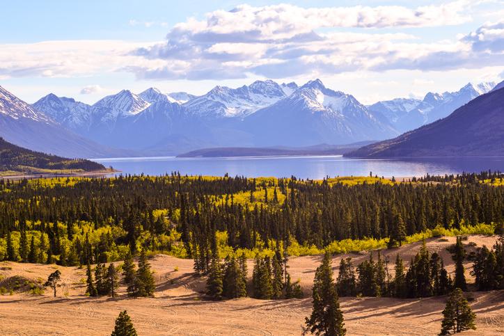 Vue panoramique du paysage et des montagnes sur fond de ciel à Carcross, Yukon, Canada.
