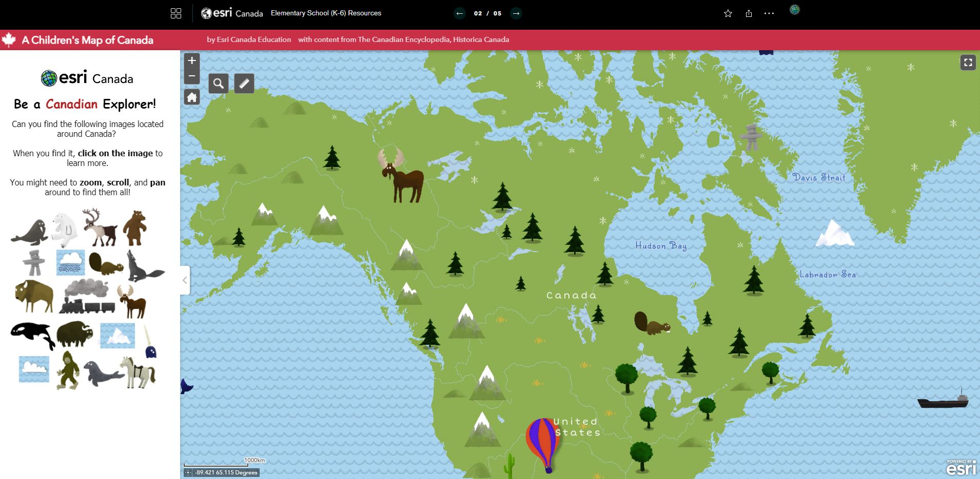 An image displaying a fun map of Canada for young children.