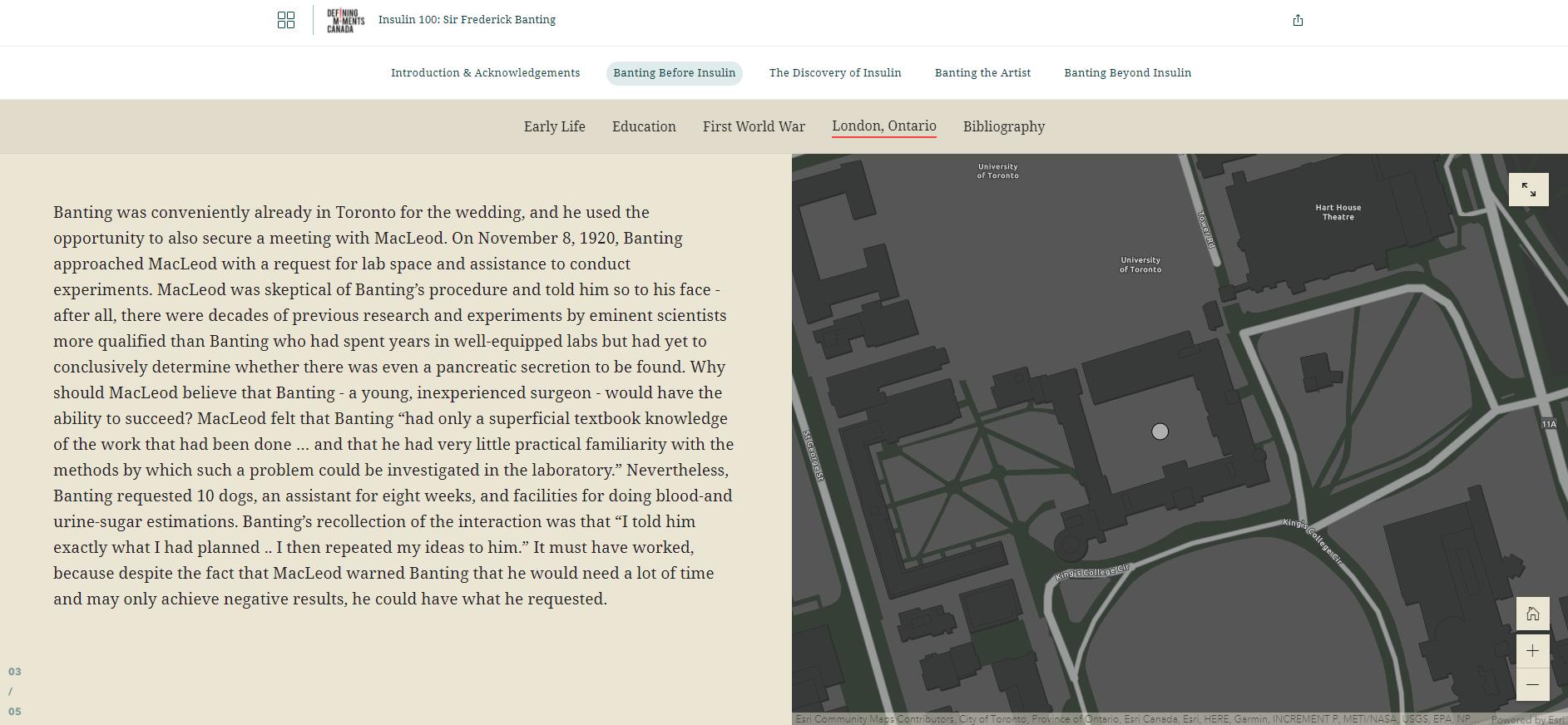 Cette image montre une capture d'écran d'un récit ArcGIS StoryMaps intitulée « Banting avant la découverte de l'insuline ». La capture d'écran montre la narration à gauche et une carte à droite grâce au format Compartiment latéral d'ArcGIS StoryMaps.