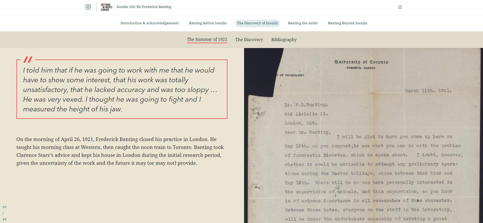 Cette capture d'écran d'un récit ArcGIS StoryMaps intitulé « La découverte de l'insuline » montre une partie d'un bloc de citations utilisé dans l'histoire, qui illustre les sentiments et les émotions du Dr Banting lorsqu'il a été contraint d'adresser une sévère réprimande à Charles Best au sujet de ses performances professionnelles.