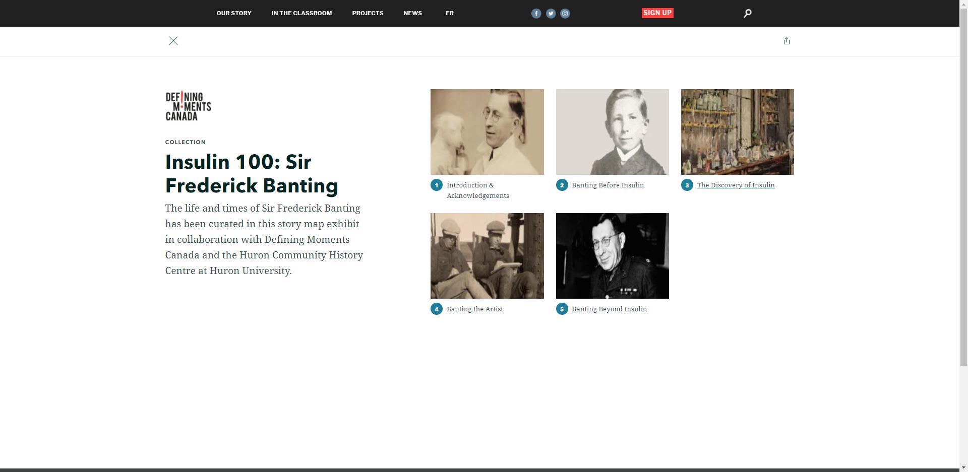 L'image montre une capture d'écran d'une collection qui aide les utilisateurs à naviguer dans le site web de Moments Déterminants Canada.