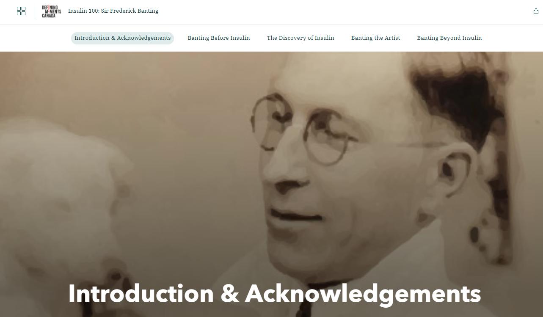 L'image montre une capture d'écran des en-têtes de collections du récit ArcGIS StoryMaps « Insuline 100 : Dr. Frederick Banting ». L'en-tête actif est intitulé « Introduction et remerciements ».