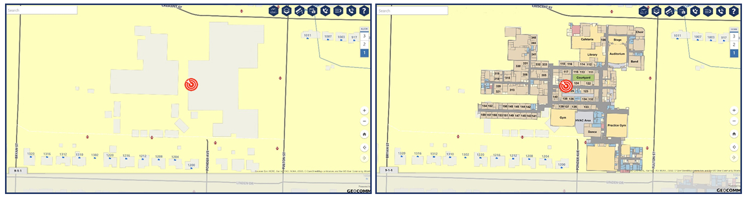 Image showing difference between mapping a school location with and without an indoor map within the 9-1-1 mapping application