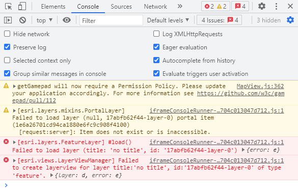 Developer tools console showing warnings and error messages.