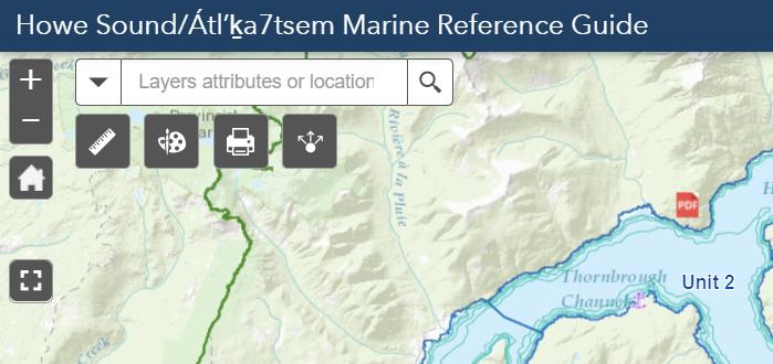 Screenshot of the widgets in the Howe Sound/Átl'ḵa7tsem Marine Reference Guide