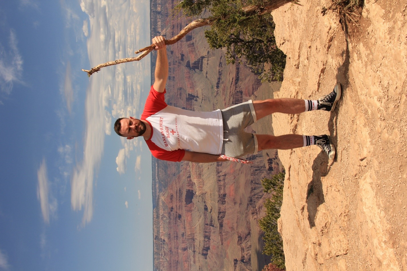 Sandy during one of his travels. South Rim of the Grand Canyon in Arizona.
