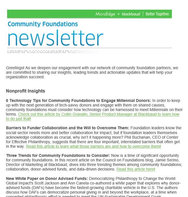 Community Foundations Newsletter, July 2017