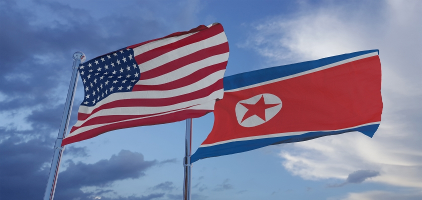 North Korea & American flags