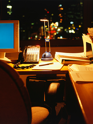 Turning office machines and lighting off at night can reduce business energy costs