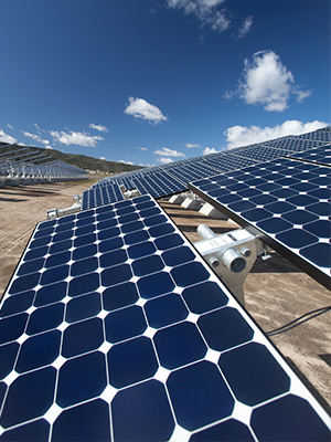 Commercial solar panels generating clean energy