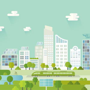 Cityscape showing examples of corporate social responsibility