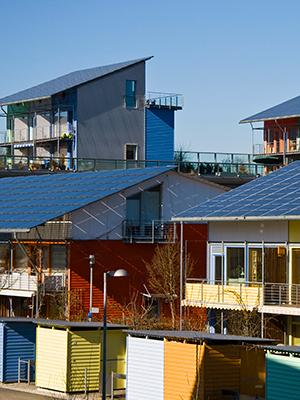 Community energy solar installation on rental homes