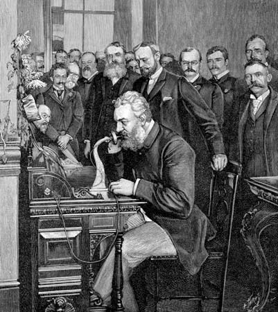 Alexander Graham Bell Using Telephone