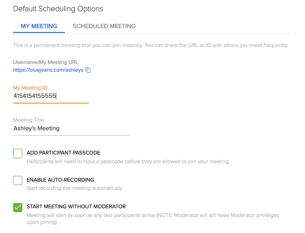 BlueJeans Advanced Meeting Settings