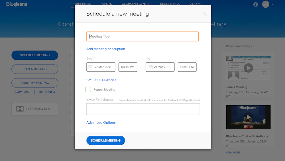 How to Schedule a Meeting in BlueJeans