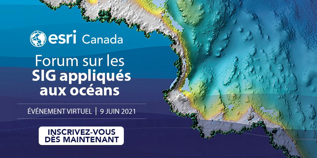 Carte numérique de l'océan utilisée à titre de publicité pour le Forum sur les SIG appliqués aux océans d'Esri Canada, qui se déroulera virtuellement le 9 juin.