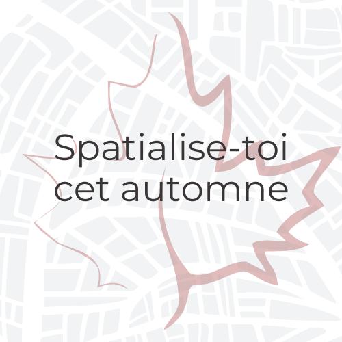 Le logo de l'initiative Spatialise-toi cet automne (Let's Get Spatial Canada) représentant le contour d'une feuille d'érable disposé sur une carte routière.