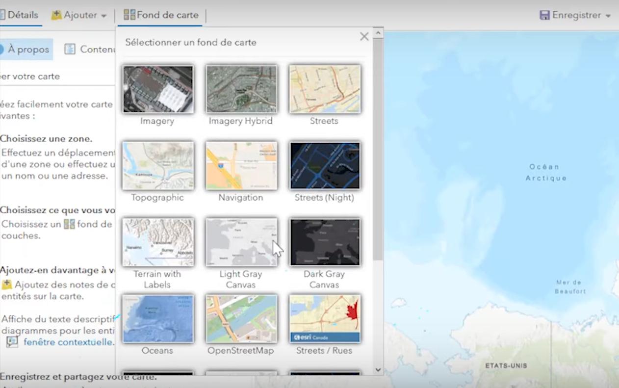 Capture d'écran des fonds de carte de la carte communautaire du Canada