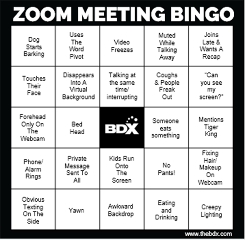 Zoom Meeting Bingo Card