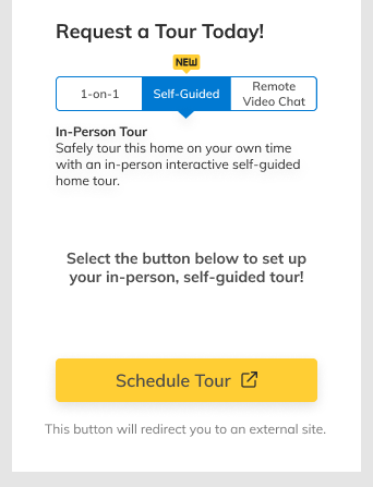 NewHomeSource.com shoppers can now schedule self-guided tours directly from the site.