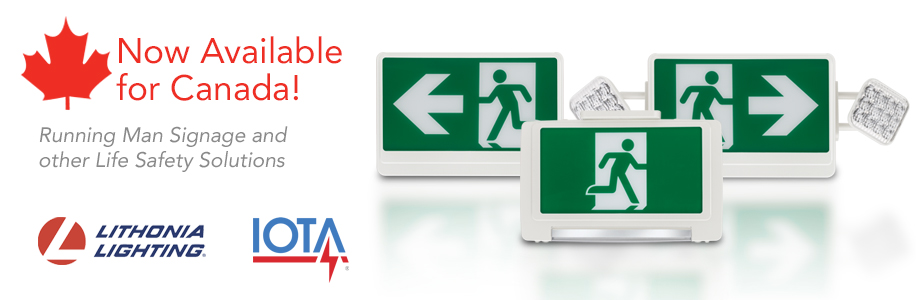 Canada Life Safety Solutions, Running Man Signage now available from Lithonia Lighting and IOTA
