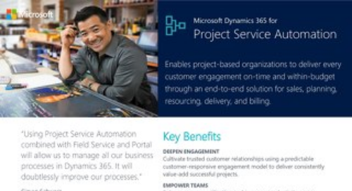 Microsoft Dynamics 365 for Project Service Automation Key Capabilities Factsheet