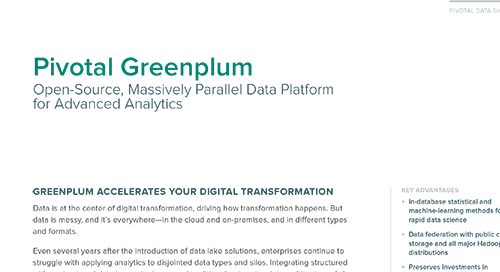 VMware Tanzu Pivotal Greenplum: Open-Source, Massively Parallel Data Platform for Advanced Analytics