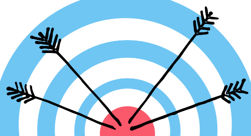 Illustration of a bull's eye target with four arrows stuck in it.