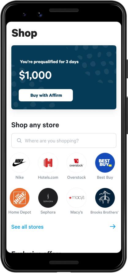 Screen shot of shopping screen in Affirm app