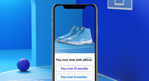 Phone screen with pair of expensive high-top sneakers in Affirm shopping app