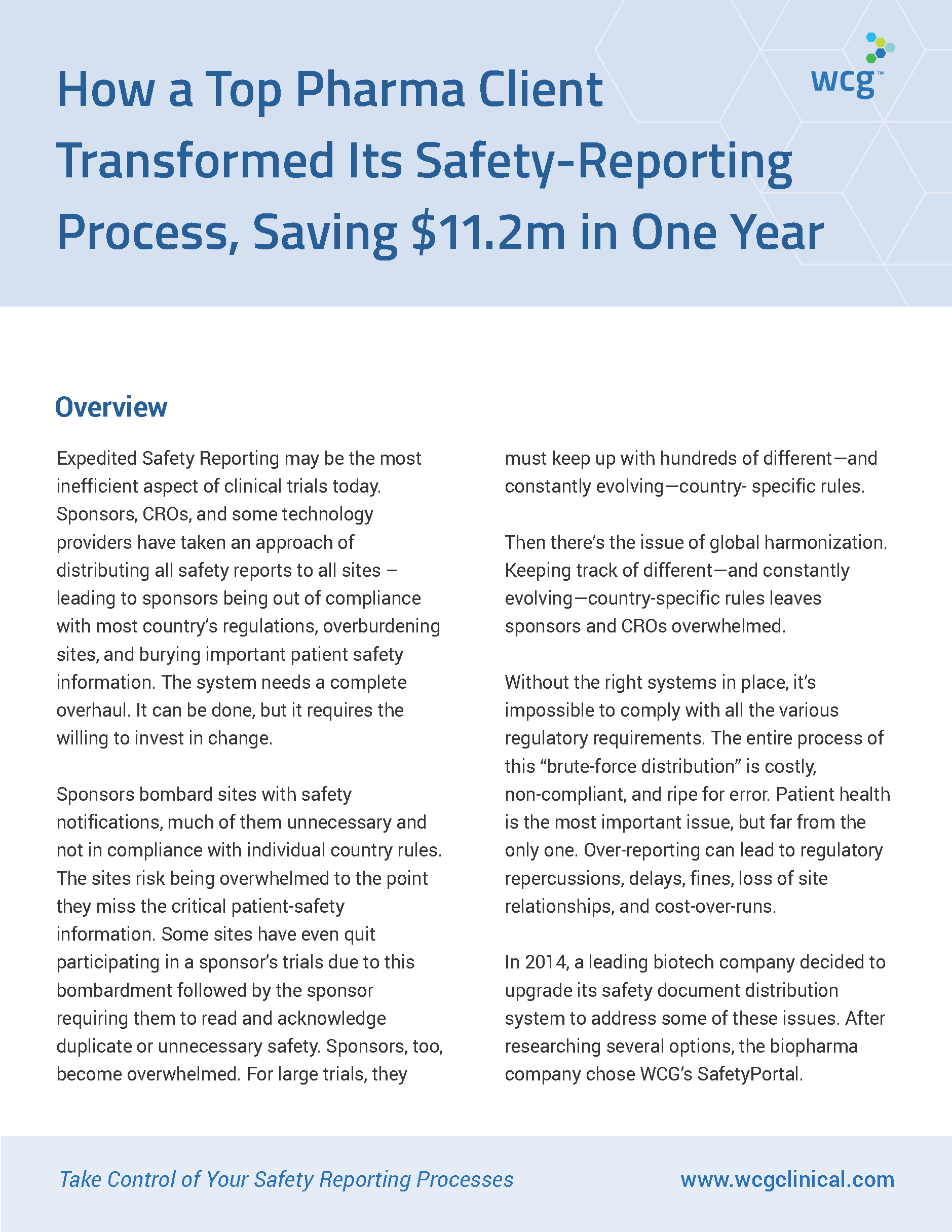 How A Top-Pharma Client Transformed Its Safety-Reporting Process, Saving $11.2 Million in One Year