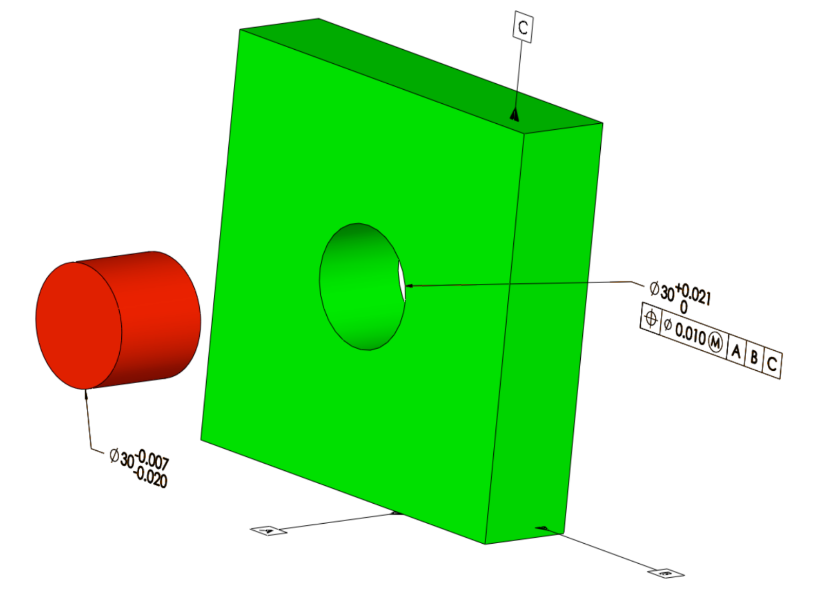 Figure 1. Part with Maximum Material Modifier: As the designed fit is for a looser tolerance fit, the maximum material modifier becomes more appropriate.