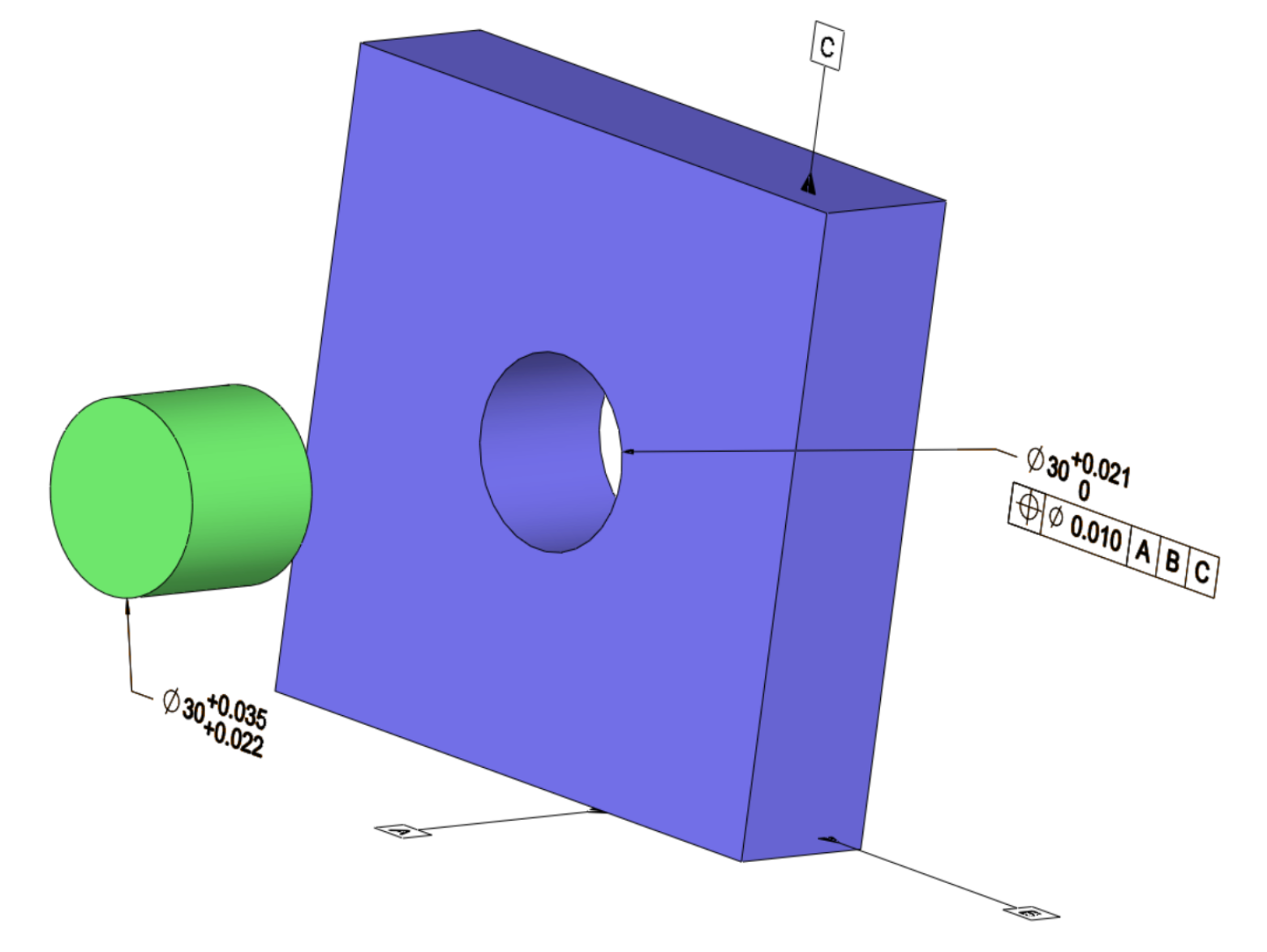 Figure 3. Part with Regardless of Feature Size Condition: As the location accuracy is of the utmost importance, there is no relationship between the hole size and the position tolerance (Pin tolerance indicates a press fit and no clearance).