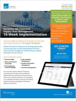Dynamics 365 Finance & SCM: 10-Wk Implementation