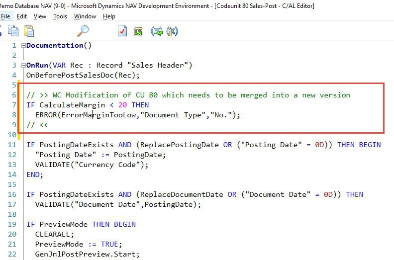 DNAV Development Environment Database Screenshot