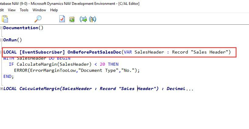 DNAV Development Environment Event Subscriber Screenshot