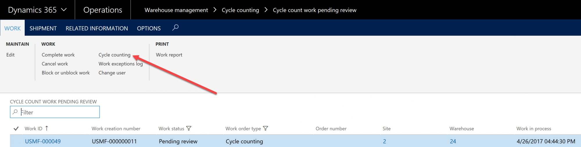 D365 Cycle Counting Work ID Screenshot