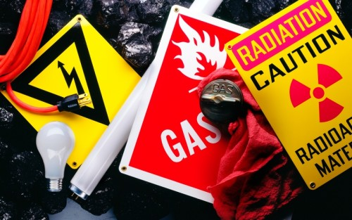 Caution sign for radiation and gasoline