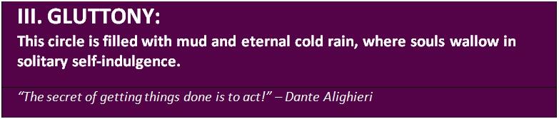 The third level in Dante's underworld - gluttony